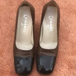 Chanel..Black and brown pumps size 8
